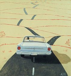 Arthur Giron The road creates depth and is drawn off the edge of the page which draws your eye into the distance of the composition. The car being the focal point in the foreground is positioned just below the centre. Its shadow continues to give the vehicle grounding within this composition.