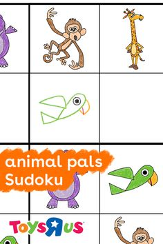 Download and print out this sudoku puzzle for kids to introduce them to the super fun game! Complete the puzzle by completing rows and columns with the missing characters: a bird, monkey, hippo and Geoffrey. Once they've finished, they'll be hooked!