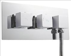 Twin Concealed Thermostatic Shower Valve With Diverter & Built-In Outlet Hudson Reed, Shower Valve, Cool Kitchens, Sconces, Twins, Wall Lights, Chrome, Clock, Lighting