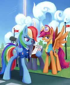 The later years where Dashie is the new captain of the WonderBolts..... And Scootaloo is in flight camp.