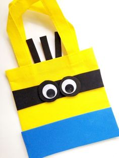 MUST MAKE DIY Minion Party Treat Bag - SO cute to make when we see the Minions movie! Fun for back to school supplies too!