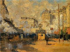 MASTERPIECES IN THE HISTORY OF ART!  IMPRESSIONISM. c. 1869-1926 Artist: Claude Monet, 1840-1926 French Impressionist Master Painter Title: Saint-Lazare Station, Sunlight Effect  1877. Oil painting on canvas. Style: Impressionism Series: Saint-Lazare Station  Genre: cityscape  One of many paintings of the Saint-Lazare Station which he painted over 3-4 continuous years studying the light as it changed during the day and during the seasons. Light was his real subject. He did the same ...