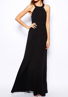 Cross Back Maxi Black - Non Stretchable Fabric Dress