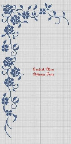 filet crochet border of roses and viny leaves with art deco look Cross Stitch Borders, Cross Stitch Flowers, Cross Stitch Charts, Cross Stitch Designs, Cross Stitching, Cross Stitch Embroidery, Embroidery Patterns, Cross Stitch Patterns, Filet Crochet