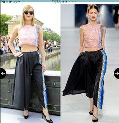 Pantaloni in seta con dettagli a contrasto, della precollezione 2014 di Christian Dior. Ha una Linea dritta con pieghe frontali.