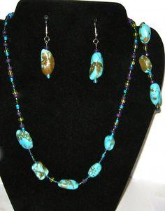 Turquoise Necklace Earrings  Bracelet set
