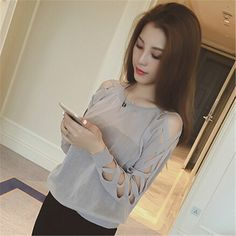the summer of 2016 the New South Korean Ladies all-match Cross Lacing solid hollow thin long sleeved sweater breathable