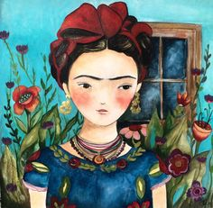 Frida in her garden art print