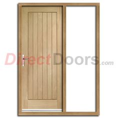 suffolk flush oak door and frame set with one unglazed side screen