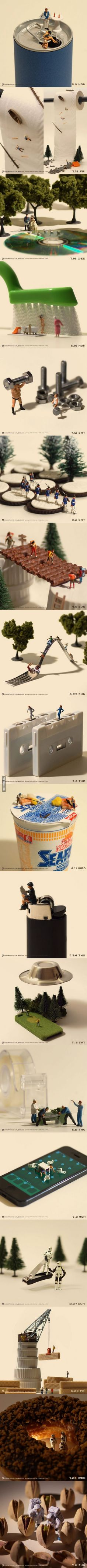 Miniature photography Tanaka Tatsuya combined little people and everyday objects to create an art like never seen before. Miniature Photography, Art Photography, Japanese Photography, Photography Courses, Photo Macro, Miniature Calendar, Everyday Objects, Art Plastique, Little People