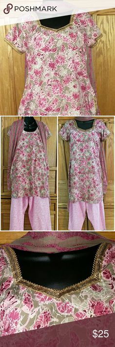 "Embellished Tunic Kurta, Salwar, & Dupatta 3pc Set Beautiful 3pc Chuddiidar/Salwaar (pants), Kameez/Kurta (tunic), Dupatta/Chunni (long scarf). Lined. Mustard, red & gold. Bollywood. Set includes - Kurta Top with embellished and beaded borders, Salwar bottoms/pants, & Dupatta: Long scarf. Approximate measurements are Kurta/Top: Bust 42 "", Waist 42"", Hip 44"", & Length 36"". Pants: Free size with drawstring waistband. Very good condition.  Bundle multiple purchases to avail discounts and save…"