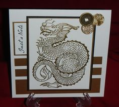 handmade card: Dragon Fantasy ... square card ... brown and white ... like the background strips in different sizes ...