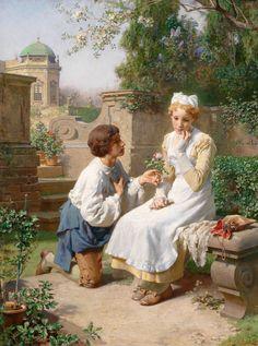 Romantická scéna v zahradě Belvederu - Julius Victor Berger