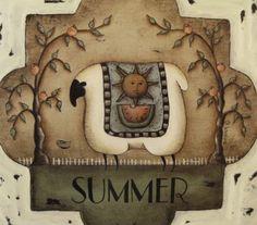 4 Seasonal Sheep Prints. Set of four square by folkartbydonna