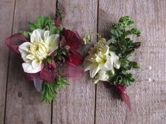 textural wrist corsage and boutonniere in creams, greens, and maroon. Dahlias and herbs. All local flowers.