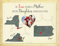 Mother's Day Gift, Long Distance Gift for Mom, Keepsake Print by KeepsakeMaps on Etsy for $26.95
