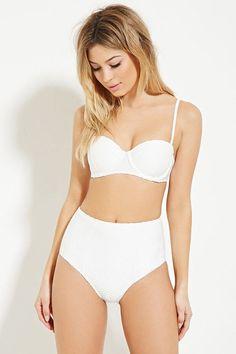Pin for Later: Die 10 besten Bikinis und Badeanzüge von Forever 21  Forever 21 High-Waist Bikinihose in Weiß (18 €)