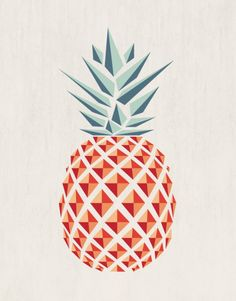 Pineapple Art Print, pineapple poster, geometric pineapple art print, modern pineapple wall art, pop art, pineapple, minimalist pineapple, kitchen art