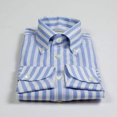 Hand-sewn cotton/linen shirt with one-piece Capri collar, blue butcher stripe. By G. Inglese.