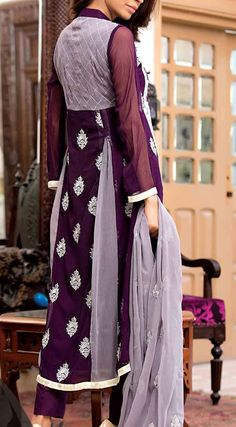 Buy Dark Purple Embroidered Chiffon A-line Dress by Amna Ismail 2015