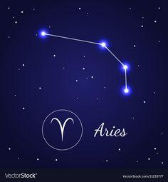 Aries Zodiac Sign Stars on the Cosmic Sky vector image on VectorStock Arte Aries, Aries Art, Astrology Capricorn, Zodiac Art, Aries Zodiac, My Zodiac Sign, Aries Star Constellation, Constellation Tattoos, Zodiac Constellations