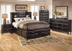Bedroom Queen Storage Bed 2 Nightstands By Ashley Furniture Get Your Kira 5 Pc At Price Busters