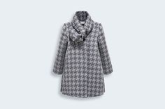 Houndstooth vlněný kabát - Girls Dior