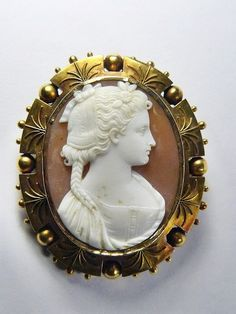 STUNNING ANTIQUE 15K GOLD SHELL CAMEO BROOCH PIN PENDANT PORTRAIT YOUNG WOMAN | eBay