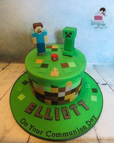 Minecraft Communion Cake www.littlecakefairydublin.com www.facebook.com/littlecakefairydublin Holy Communion Cakes, Minecraft Cake, Confirmation, Cake Ideas, Birthday Cake, Facebook, Desserts, Pastries, Tailgate Desserts