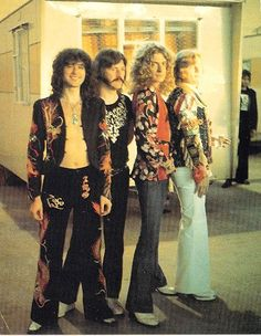 Jimmy page in one of his dragon suits. Also, the rest of the band.