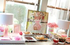 Love this table set up.............Pink Flower Baby Shower Food Table