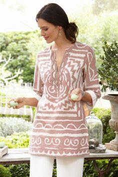 Coachella Tunic - Beaded Cotton Tunic, Graphic Print, Tops | Soft Surroundings