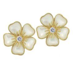 Van Cleef Arpels Earrings Pearl Diamond Flower Jewelry