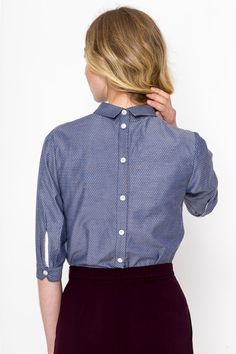 Back Buttons Shirt (Tapestry) / Vintage shirt/ Retro shirt / Blouse Retro Shirts, Vintage Shirts, Vintage Outfits, Blouse Dress, Feminine Style, Shirt Blouses, Tapestry, Buttons, Model