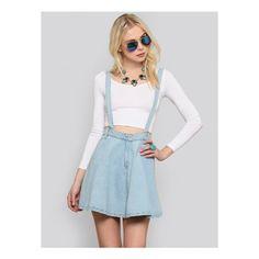 Denim Suspender Skater Skirt ($75) ❤ liked on Polyvore