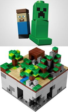LEGO Minecraft. (steve can't fit in the house though! Lol!)