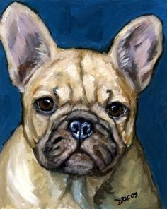 French Bulldog 11x14 Dog Art Print Painting by by DottieDracos