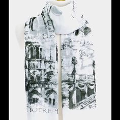 "❤️NWOT/Gilt/NM/ARC DE TRIUMPH Building Print Scarf ❤️Nwt/From Gilt/by Neiman Marcus/ARC DE TRIUMPH BUILDING/PRINT/Beautiful large scarf or use as a wrap/in white back  ground with the building design/ ""ARC DE TRIUMPH"" Building Print Scarf Length: 74"" Width: 37"" This is so stylish and will definitely be a wonderful fashion accessory to your closet/ Care/hand wash gentle/ line or air dry/iron  cool iron if necessary/or Dry Clean Gilt for Neiman Marcus Accessories Scarves & Wraps"