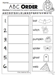 October Literacy, Math, and Science Printables for First Grade - ABC order