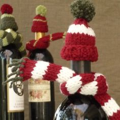 Knit bottle scarves and hats for hostess gift