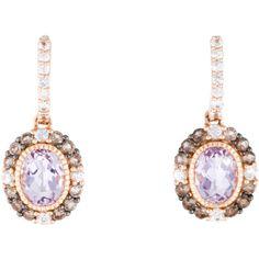 Pre-owned Le Vian 14K Amethyst, Quartz & Sapphire Drop Earrings ($625) ❤…