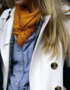 Mustard Scarf Tucked in Chambray Shirt with White Jacket