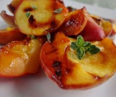 Grilled Lemon Thyme Peaches Recipe from Whisked Foodie | Whisk up something delicious.