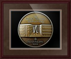 """Patek Philippe Geneve Commemorative Medal Coin (Front) // Paper: enhanced matte; Glazing: acrylic; Moulding: dark brown, arcadia traditional mahogany; Top Mat: brown, chocolate; Middle Mat: brown, teak; Bottom Mat: brown, dark chestnut // Price starts at $177 (Petite: 21.75"""" x 23.75""""). // Customize at http://www.imagekind.com/Patek-Philippe-Geneve-PPG_art?IMID=5cad76ca-2632-4430-9e1b-71f73e27c714"""