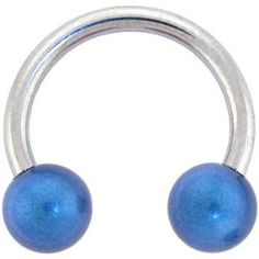 Electric Blue Miracle Ball Horse Shoe Circular Barbell (Jewelry)