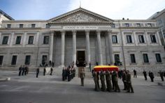 Arrival the coffin with the remains of President Adolfo Suárez Congress of Deputies. Suarez died March 23 at age 81. March 24, 2014.
