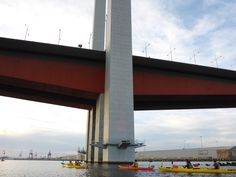 Fast groups get the chance to paddle under the Bolte Bridge - Victoria Harbour.
