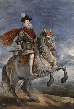 Felipe III, retrato ecuestre pintado por Diego Velázquez entre 1634 y 1635.