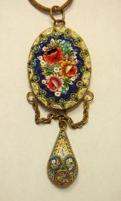 Vintage Italian Micro Mosaic Pendant    #Mosaic