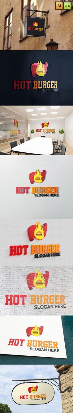 """@Behance projeme göz atın: """"Hot Burger Logo""""…"""